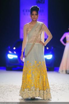 Grey and yellow lengha by Varun Bahl at Delhi Couture Week 2013