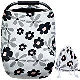 #8: Baby Car Seat Covers for Girls with Pouch Versatile Stretchy Floral Babies Car Seat Protector Infant Stroller Canopy Nursing Covers for Travel Breastfeeding Covers Shopping Cart Cover for Girls