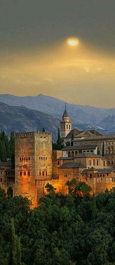"Alhambra located in Granada, Andalusia, Spain. Originally built by Berber rulers of the Emirate of Granada in al-Andalus. Calat Alhambra which the full Arabic name meaning ""the red fortress"". Places Around The World, The Places Youll Go, Travel Around The World, Places To See, Wonderful Places, Beautiful Places, Magic Places, Voyage Europe, Spain And Portugal"