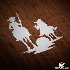 Pegatina Don Quijote y Sancho atardecer