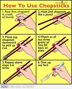 Everyone I know when I try to teach them how to use chopsticks