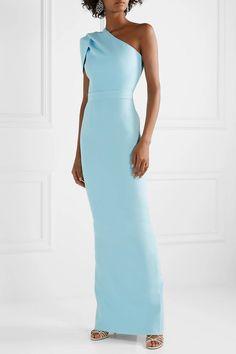 Safiyaa - Kora One-shoulder Draped Crepe Gown - Light blue Light Blue Cocktail Dress, Safiyaa, Groom Dress, Beautiful Gowns, Dress Patterns, Fashion Dresses, Midi Dresses, Casual Dresses, Formal Dresses