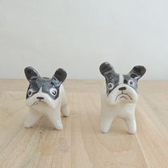 French Bulldog chopstick rests, Chinese Clay sculpture.