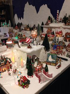 a good portion of my 80 lighted buildings in Dept 56 North Pole collection