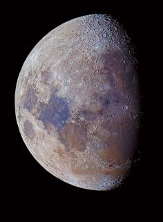 Lunar Colors A high-resolution photo of the Moon with its real colors enhanced by stacking 40 images. Luis Argerich