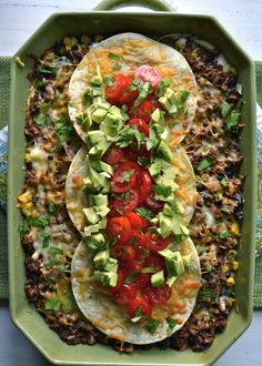 Taco Lasagna, an easy casserole loaded with beef, black beans, corn, cheese and topped with fresh tomatoes and avocado! Carnitas, Barbacoa, Mexican Dishes, Mexican Food Recipes, Dinner Recipes, Ethnic Recipes, Dinner Ideas, Tamales, Quesadillas