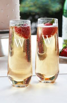 Champs, please! Love these stemless champagne flutes.