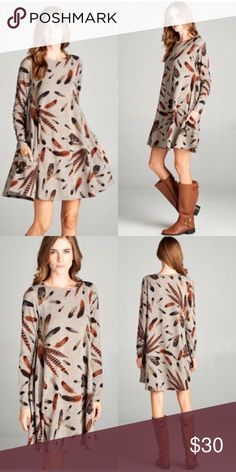 Feather print Swing Dress Size L Feather print Swing Dress Size L. Re-poshing. Worn one ☝️ time. Freshly dry cleaned 👌🏽✔️ Fits 10-12. Super Cute with riding boots! Relished Dresses Midi