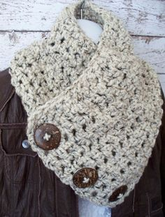 Crochet Cowl Scarf Natural Coconut Buttons by UnderTheOakTrees