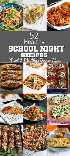 No more meal time planning! I've got you covered with these 52 Healthy School Night Recipes, including both meat and meatless dinner ideas. Healthy Foods To Eat, Healthy Snacks, Healthy Eating, Healthy Skin, Clean Eating, Dinner Recipes Easy Quick, Healthy Dinner Recipes, Fun Recipes, Light Recipes