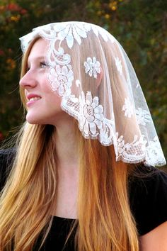 French Princess Mantilla  Join millions of Catholic women across the ages in devotion to the Real Presence of Christ in the Eucharist. We offer mantillas and chapel veils handcrafted with soft, supple lace and imported mantillas from Spain and Calais, France. Our veils are of elegance and quality proper for use inside Catholic churches, where the Blessed Sacrament is reserved in the tabernacle.