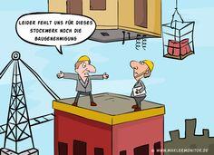 Für die beiden Stockwerke darüber haben wir aber eine Baugenehmigung. Auch wenn das etwas komisch aussehen wird. #immobilien #haus #cartoon