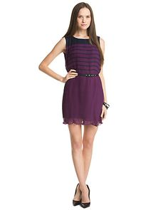 """French Connection """"Caitling"""" Amethyst and Nocturnal Stripe Dress"""