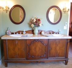 Antique Sideboard Buffet turned into Double Sink Vanity. In order to get the space needed to have a double sink vanity we may have to look for a sideboard rather than a dresser. Antique Buffet, Antique Sideboard, Sideboard Buffet, Antique Dressers, Vintage Buffet, Vintage Cabinet, Antique Vanity, Vintage Vanity, Vintage Decor