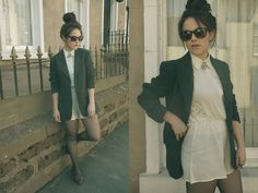 Whistles Blazer, Glamorous Playsuit, New Look Brogues, Rock N Rose Brooch - Lace inserts - Amy Bell