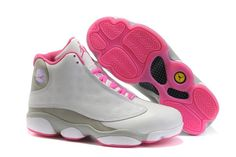 women jordan shoes   Women Air Jordan 13 Retro shoes for sale White Gray Pink