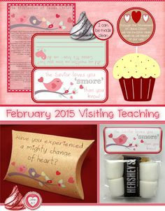 February 2015 Visiting Teaching Printable ~ cute designs for Valentine's VT gifts! LOVE the pillow box template!