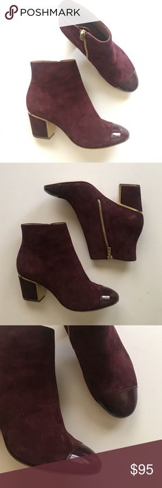 New Calvin Klein boots New never worn Calvin Klein ankle boots, suede upper. Burgundy color with gold details on heels. Size 6 Calvin Klein Shoes Ankle Boots & Booties