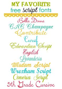 "My Favorite Free Script Fonts ~~ {9 Free Fonts with links} ... [""Wrexham Script"" is not there and DON'T try to download ""Bella Donna"" - that is a BAD site! My Virus protector blocks anything from that site!]"