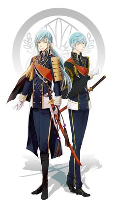 I don't know if their twins or not but they look like twins that or siblings Handsome Anime Guys, Hot Anime Guys, Touken Ranbu Characters, Anime Characters, Sibling Poses, Siblings, Kawaii Chibi, Fantasy Warrior, Manga Illustration