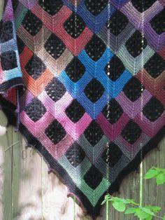 "Knit shawl ""Tartan ""Caledonia"" (knitted shawl, handmade wrap, knitting wool shawl, knit patchwork, stained-glass effect)"