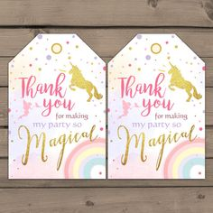 Unicorn Favor Tags Unicorn Birthday Thank you by Anietillustration