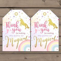 Unicorn Favor Tags Unicorn Birthday Thank you by Anietillustration