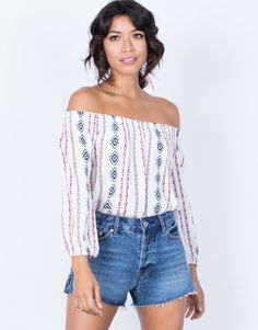 Colorful Tribal Blouse - Off the Shoulder Top - Boho Printed Top - White Boho Top – 2020AVE