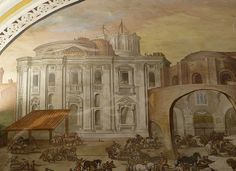 Vatican City ~ Museum St Peter's painting - facade by Michelangelo