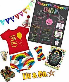 Girl or Boy Red Birthday Shirt,Rainbow or Circus, Half Birthday, 1st Birthday,