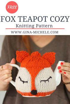FREE knitting pattern for this Fox Teapot Cozy Tea Cosy Knitting Pattern, Animal Knitting Patterns, Easy Knitting, Easy Crochet Patterns, Loom Knitting, Knitting Needles, Teapot Cover, Needle Felting Tutorials, Tea Cozy