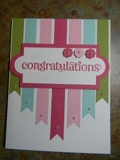 Congratulations card with ribbon banners