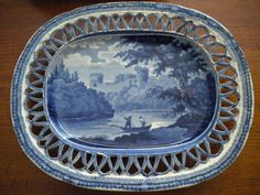 ANTIQUE Pearlware Dark Historical Blue Under Tray - Lattice Edge - c. 1820