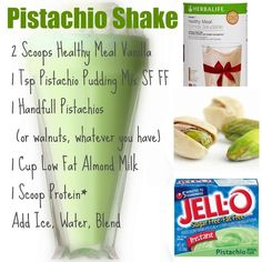 Herbalife - pistachio shake.. Yummy.... I made mine w/ the following ingredients:  2 scoops Herbalife Meal Shake, 1 cup skim milk, handful of soynuts, 1tsp lf/ff pistachio instant pudding & handful of ice.....blend very well then ENJOY!!!!