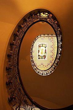 Staircase in Casa Modernista, art nouveau house, Novelda, Valencia region, Spain