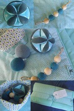 Balle de préhension et hochet d'inspiration Montessori, tapis de jeux  - idée cadeau naissance, éveil jouet bébé / Fée au Marais