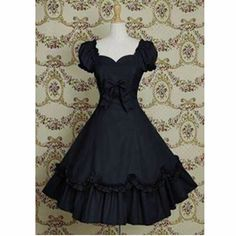 Plus Size Black Short Sleeve Victorian Gothic Lolita Prom Dress SKU-11402540