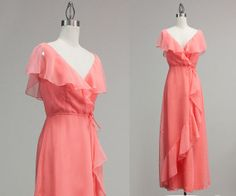 Vintage Peach Chiffon Wrap Maxi Dress / Small by TheDressStory, $110.00
