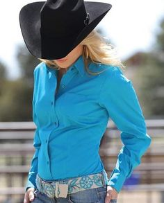 Classy, yet western, this women's teal blue western shirt by Cruel Girl will look great with your favorite pair of blue jeans. Made of cotton for a soft comfortable fit. A must-have for your ward Rodeo Shirts, Cowgirl Shirts, Western Shirts, Cowgirl Outfits, Western Outfits, Western Wear, Western Style, Western Tack, Cow Girl