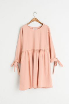 Ribbon Point Sleeve Baby Doll Dress, Pink