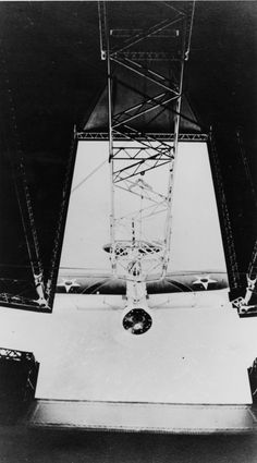 A Curtiss F9C-2 Sparrowhawk recovery on airship USS Macon (ZRS-5) in 1934.