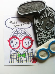 little boy rubber stamp. glasses and speech bubble. hand carved rubber stamp. hand carved rubber stamps. diy birthday. large. CHOOSE ONE.