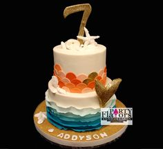 Mermaid Beach Birthday Cake with blue ruffle water accents.