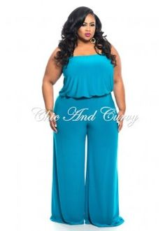 New Plus Size Strapless Jumpsuit with Wide Legs in Teal 1x 2x 3x