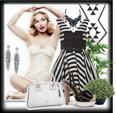 """""""Pin up girl in black and white"""" by renete ❤ liked on Polyvore"""