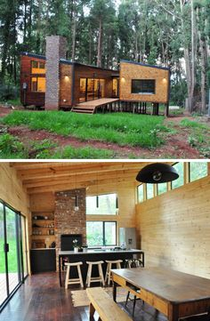 Woud Blokhuis is nestled amongst silver birch trees in and just around the corner for a weekend getaway! Modern Wooden House, Wooden House Design, Tiny House Design, Tiny House Cabin, Tiny House Living, My House, Minimaliste Tiny House, Built In Braai, House Plans