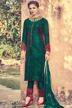 Dark #green & #maroon pure raw #silk marvelous #kameez with cigarette #pant -SL5453