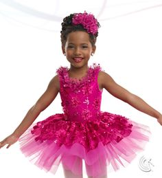 Curtain Call Costumes® - Carnations Nylon/spandex leotard with sequin flower embroidered bodice overlay and top skirt, foil mesh ruffle bodice trim, and attached tricot tutu. INCLUDES: ruffle headdress. Troupe price: $65 AUD - $70 AUD