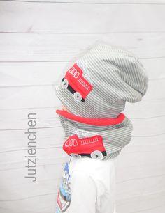 ...angesagter Winter Wendebeanie für Jungs dazu mit passendem Loop :). Super für den Herbst oder Winter... Hier wurden gleich zwei tolle Stoffe verwendet, einen toller Ringel Baumwolljersey...