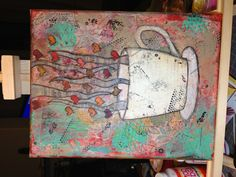 Coffee canvas mixed media - maybe different colours and with print for the steam and a book in behind??